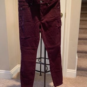 LOFT NWT Brushed Sateen Burgundy Leggings